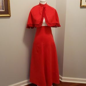 Vintage 60s or 70s  Maxi Dress with Cape Fest Wear
